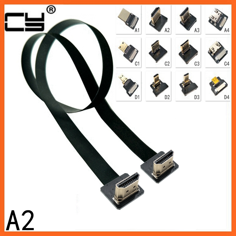 A2 Up Angled 90 Degree HDMI Type A Male To Male HDTV FPC Flat Cable 20cm 50cm 1m For Multicopter Aerial Photography