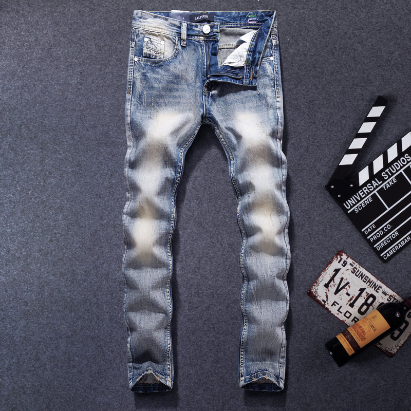 Classical Fashion Men's Jeans Light Blue Color Straight Fit 100% Cotton Ripped Jeans For Men Streetwear Simple Wild Jeans Homme