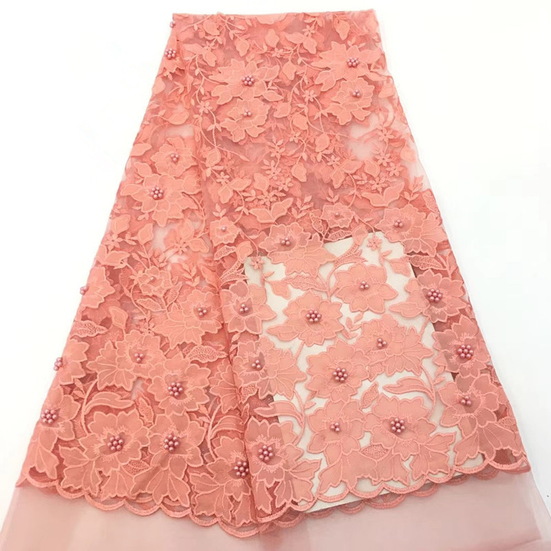 5 Yards Nigeria Tulle Net Lace Peach African Embroidery French Velvet Lace High Quality Bridal Lace Beaded Fabric X14215 Yards Nigeria Tulle Net Lace Peach African Embroidery French Velvet Lace High Quality Bridal Lace Beaded Fabric X1421
