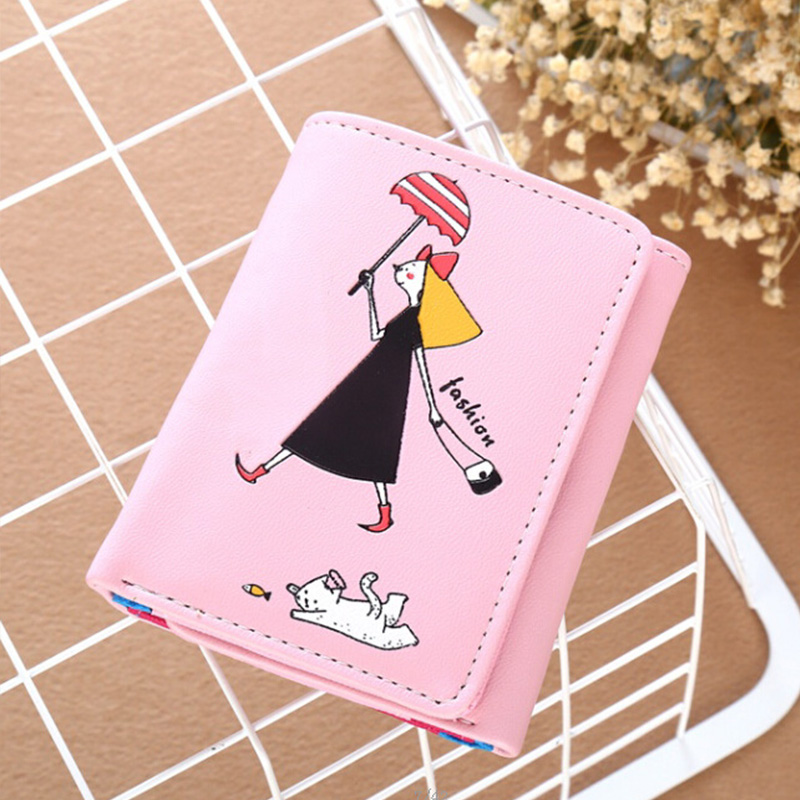 YOUYOU MOUSE Fashion Cute Girl Women Wallet PU Leather Short Coin Pocket Wallet 3 Fold Ladies Clutch Money Bag Card Holder Purse youyou mouse high quality women long wallets fashion pu leather money wallet 6 colors lady clutch coin purse card