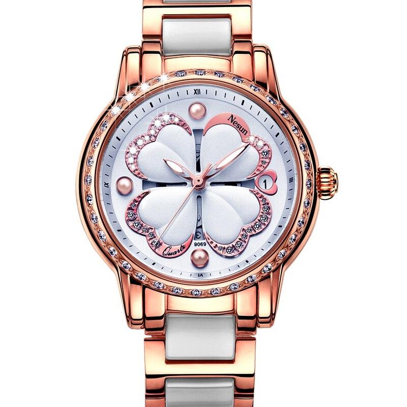 Suisse Nesun montres femmes de luxe marque Quartz montre femmes perle Relogio Feminino horloge diamant montres N9069-7