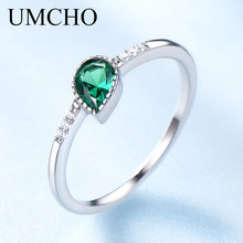 UMCHO Created Emerald Engagement Wedding Rings For Women Genuine 925 Sterling Silver Fashion Fine Jewelry