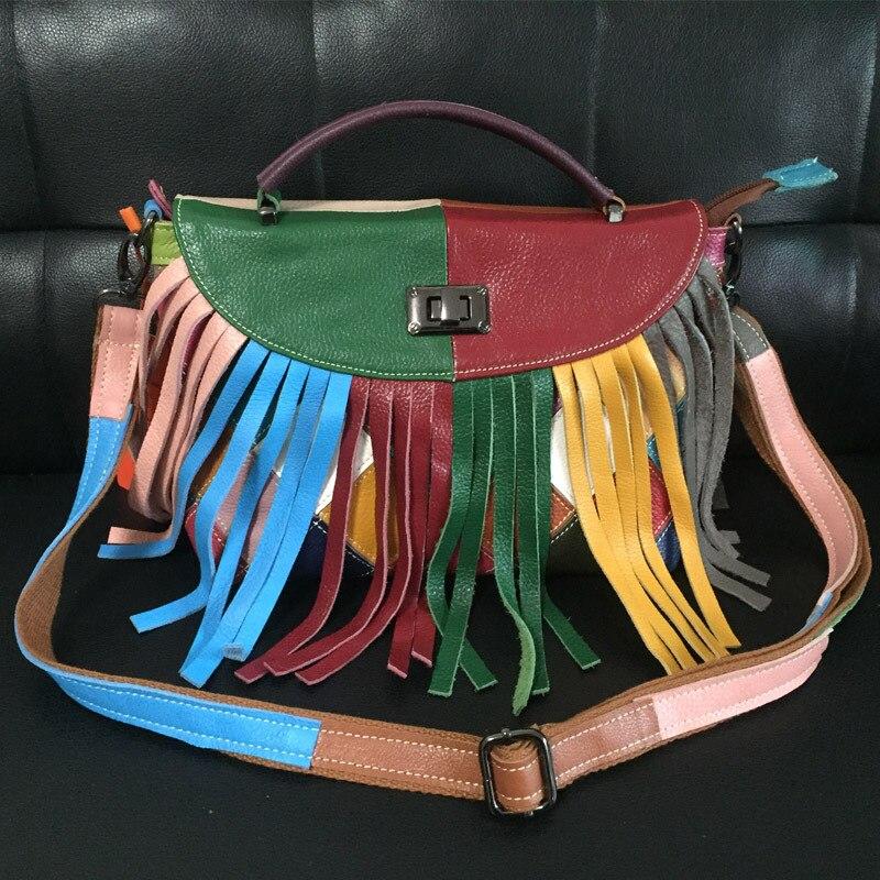 Z frędzlami torba frędzle Splice kolor torby dla kobiet 2019 prawdziwa skóra bydlęca polichromatyczne łączenie luksusowe torebki kobiet torby torba na ramię w Torebki na ramię od Bagaże i torby na  Grupa 1