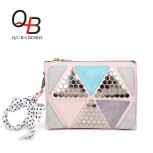 QUBABOBO Candy Color Women Leather Handbags Patchwork Triangle Sequined Teenage Girls Wristlets Crossbody Bag Clutch With