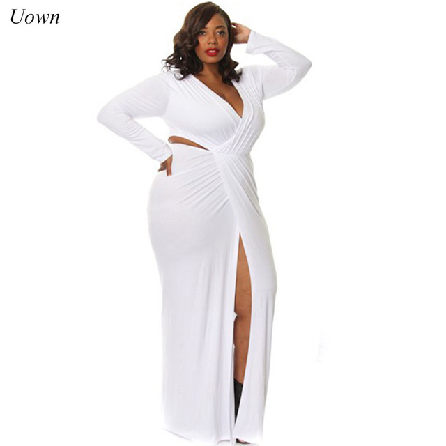 2018 y White High Slit Maxi Dress Women Plus Size Bandage Long