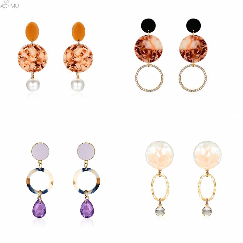 Jewelry & Accessories Persevering Aomu 2019 Korea Vintage Acrylic Resin Hollow Round Circle Waterdrop Big Dangle Earring Women Leopard Clear Party Jewelry Boucle Earrings
