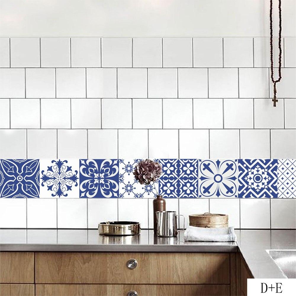 Autocollants de carreaux de Style méditerranéen autocollants muraux de vigne de fleur Vintage maison salon chambre autocollants de décoration de cuisine - 2