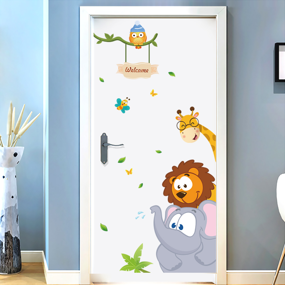 Bed room Wall Sticker For Youngsters Room Stickers Elephant Giraffe Fowl Residing Room Door Stickers Ornament Dwelling Equipment