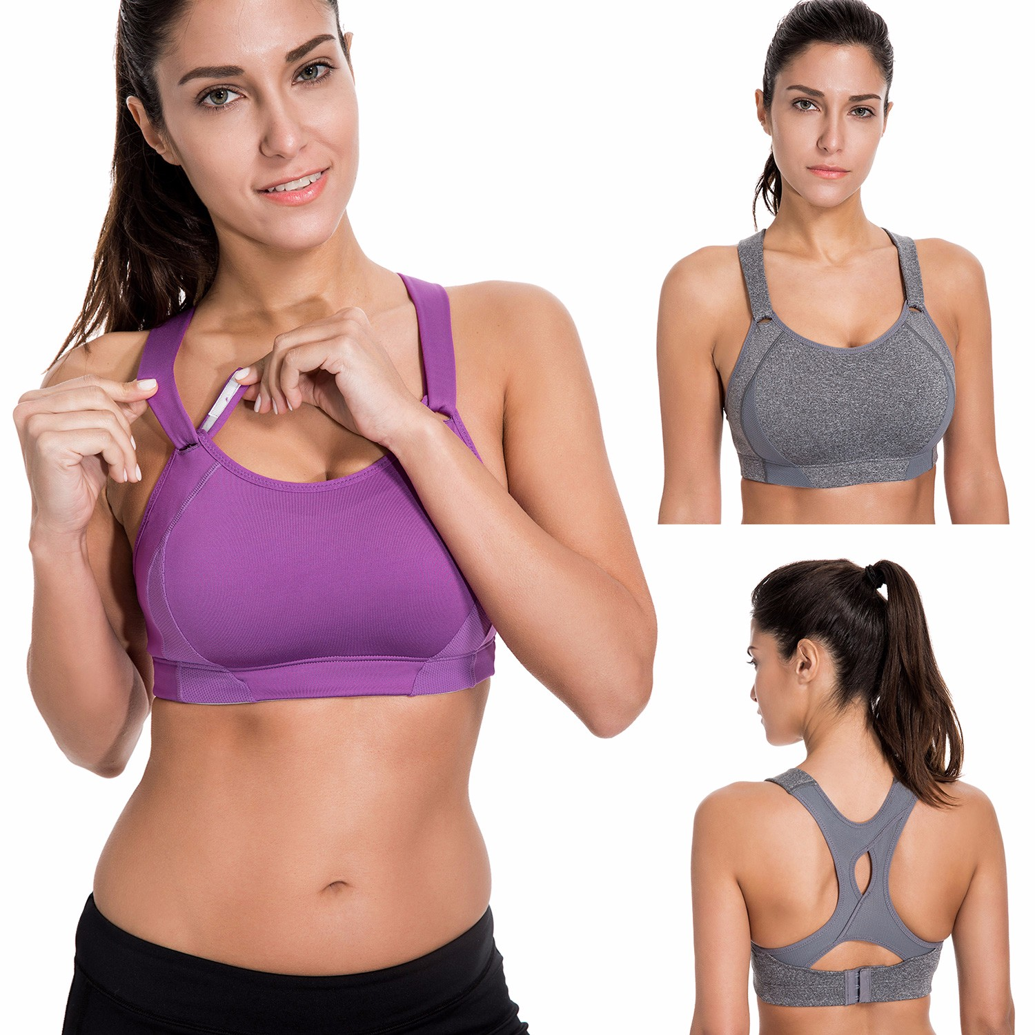 Women's High Impact Full Coverage Wire Free Lightly Padded Sports Bra недорго, оригинальная цена