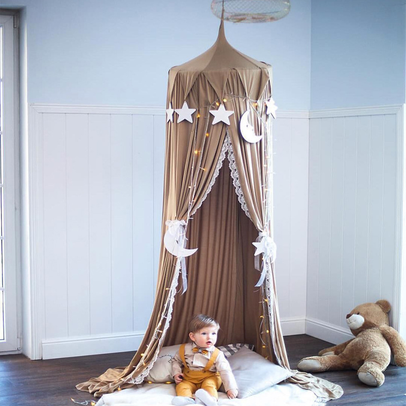 Baby Room Decor Triangular Tassel Kids Bed Curtain Canopy Lace Hung Dome Mosquito Net Baby Crib Netting Tent Photography Props nordic white lace girls princess dome canopy bed curtains round kids play tent room decoration baby bed hanging crib netting