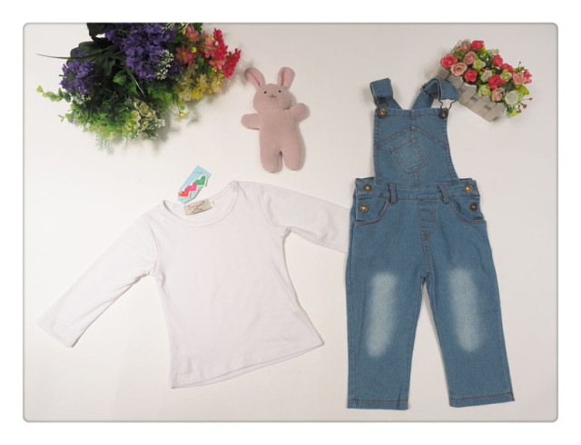 2016 girls denim clothing set summer baby cotton long sleeve t shirt denim overalls 2pcs casual kids children clothing set