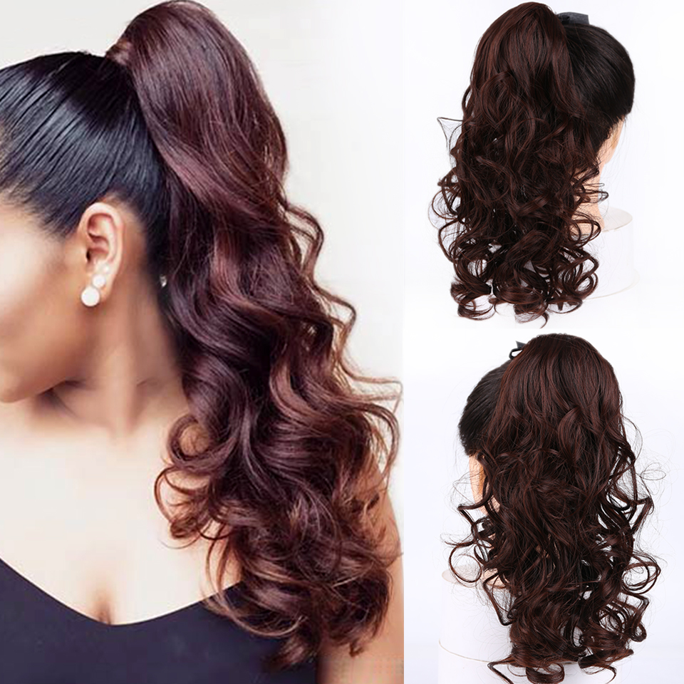 Long Wavy Synthetic Drawstring Ponytail High Temperature Fiber Hairpieces For Women Clip In Pony Tail Hair Extensions