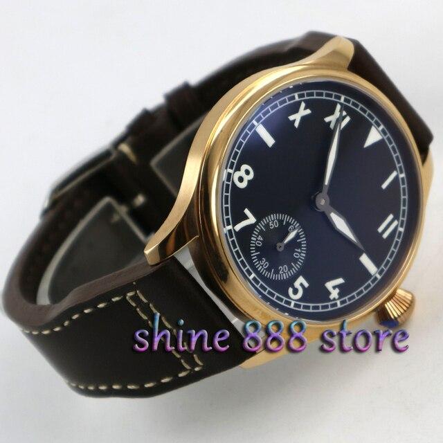 ce667de48bd Parnis 44mm black dial ouro caso luminosa 6498 mão winding movimento do  relógio dos homens