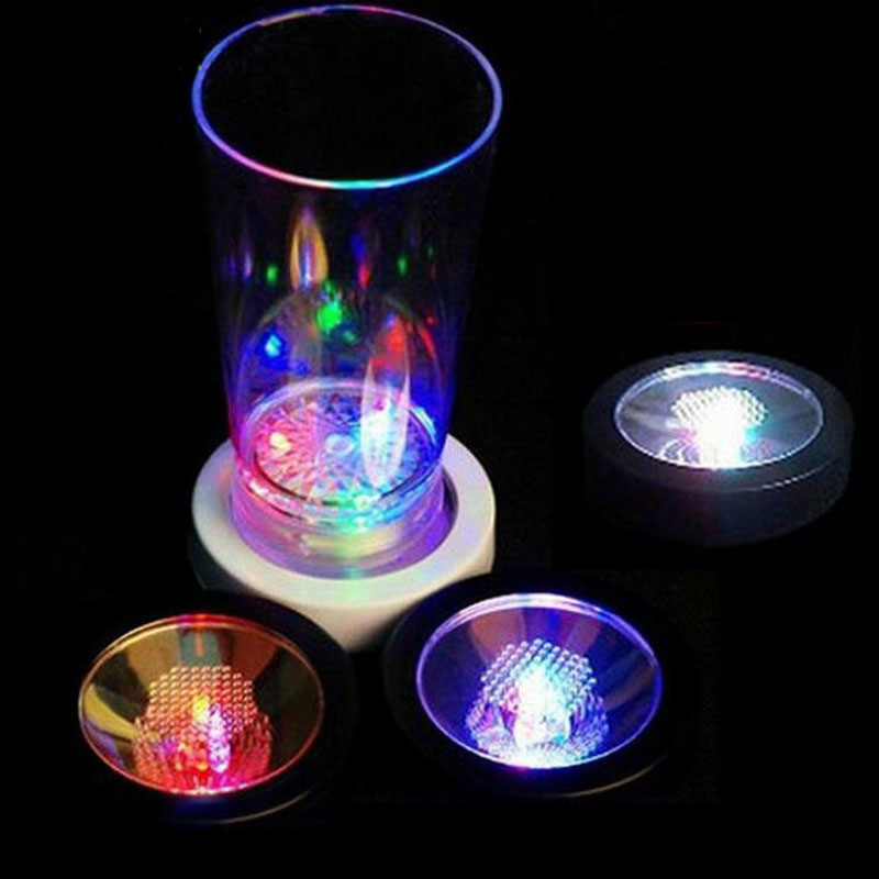 30pcs LED Light Bottle Cup Mat Coaster 7 Color Changing For Party Club Bars Light Decor Party Wedding Festival Supply ZA5100