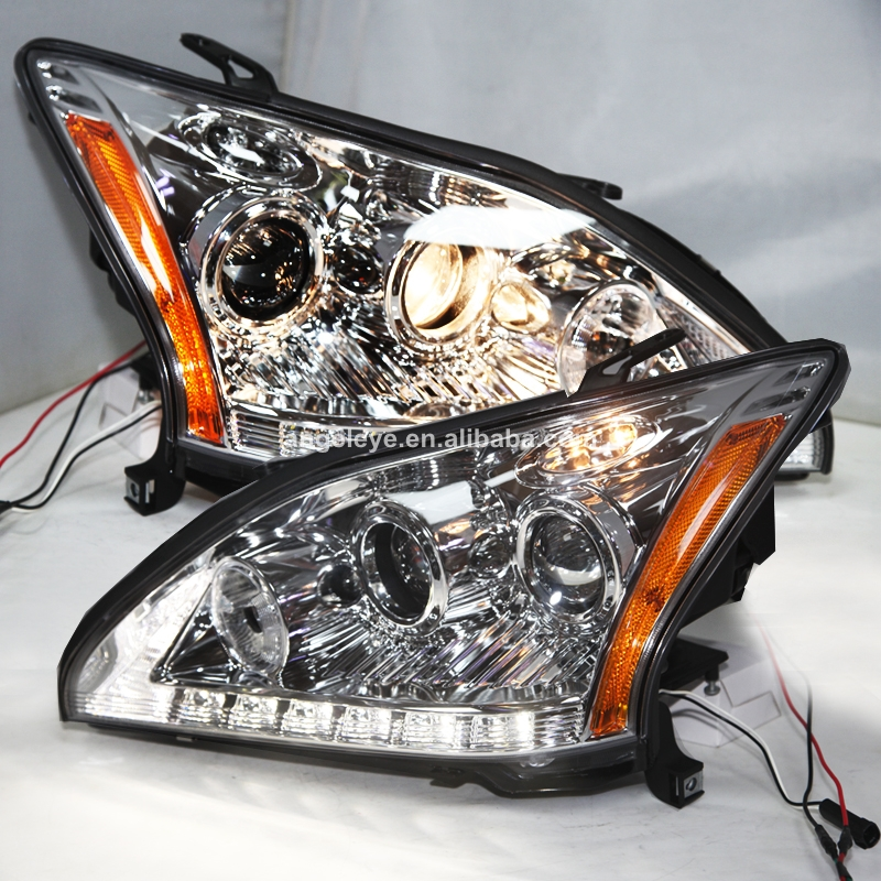 2004-2009 Year For Lexus RX330 RX350  LED Head Lights Headlamps Chrome Housing Yellow  Reflector SN
