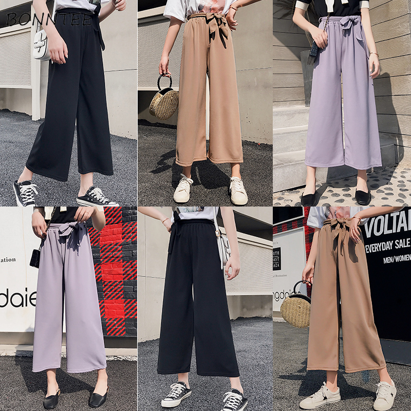 Pants   Women Thin Loose Leisure Elegant Solid Simple All-match Womens Ankle-length   Wide     Leg     Pant   Korean Style Trendy Daily Trendy