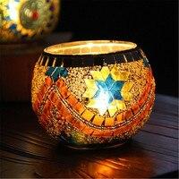 Suporte de Vela Mosaico de Vidro em Estilo europeu Amantes Romatic Castiçal De Vidro Castiçal Decoração de Casa Frete Grátis