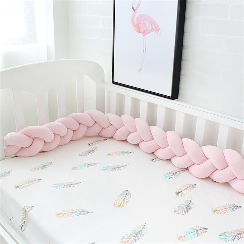 1M 2M 4M Length Baby Bed Bumper 4 Braids Baby Bed Decor Pure Weaving Plush Knot Crib Bumper Protector Infant Room Decor 2019 in Decorative Pillows from Home Garden