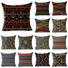 WZH Strips Cushion Cover 45x45cm Linen Decorative Pillow Cover Sofa Bed Pillow Case(China)