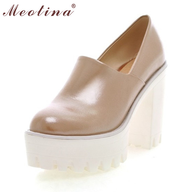 Meotina High Heels Shoes Women Platform Chunky Heels Spring Autumn Round Toe Woman Shoes Heels White Pink Blue Small Size 34-39