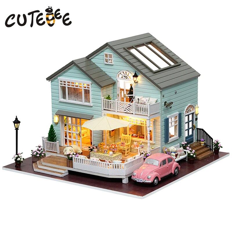 CUTEBEE dom dla lalek miniaturowy domek dla lalek z meblami dom drewniany kwiat wiśni zabawki dla prezent urodzinowy dla dzieci A035 w Domy dla lalek od Zabawki i hobby na  Grupa 1