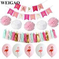 WEIGAO 1 Set Flamingo Thema Partij Decoratie Kleurrijke Banner Latex Ballonnen Pom Poms Tissue Kwastje Kids Decoratie