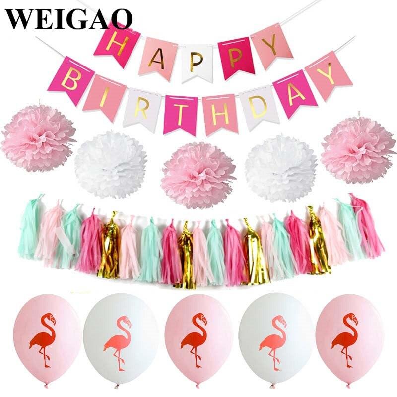 WEIGAO 1Set Summer Flamingo Party Decor Birthday Banner Latex Balloons Tissue Tassel Birthday Party Decorations Kids SuppliesWEIGAO 1Set Summer Flamingo Party Decor Birthday Banner Latex Balloons Tissue Tassel Birthday Party Decorations Kids Supplies