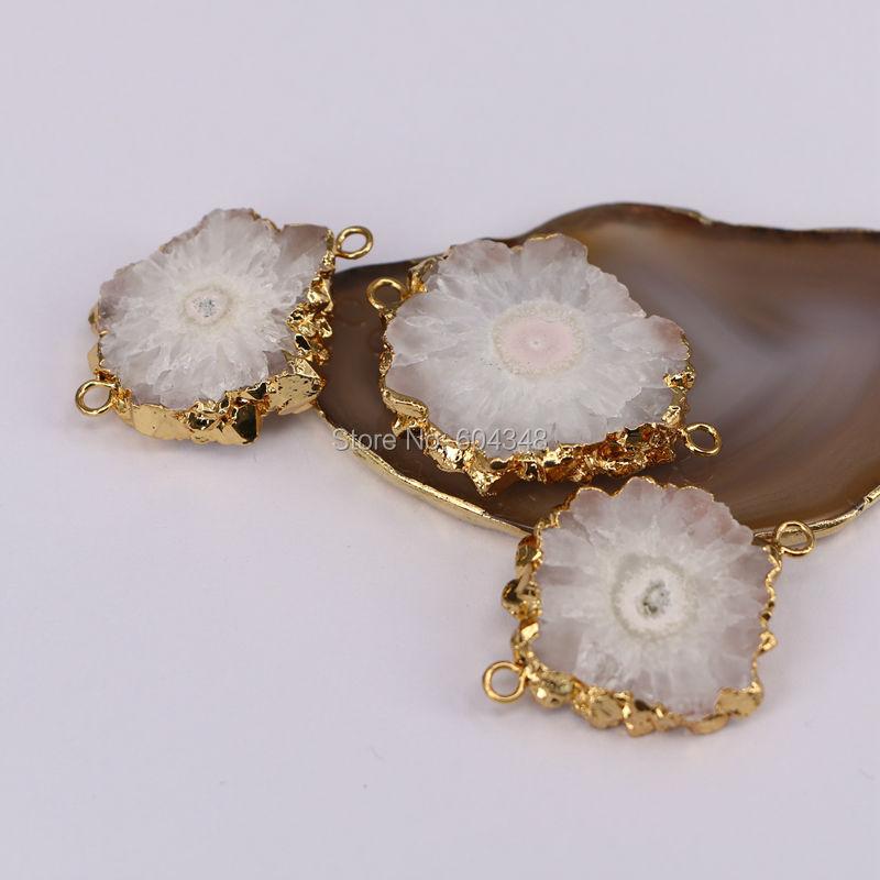 26pcs Fashion Gold  Silver Plated Crescent Natural Quartz Titanium AB Druzy Pendant Beads