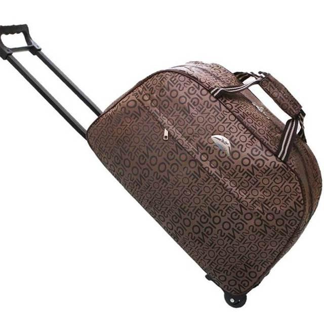80c80d140be Large Wheeled Duffle Trolley Bag Women Soft Luggage Travel Bags on Wheels  Fashion Designer Duffel Waterproof Bags Packing c