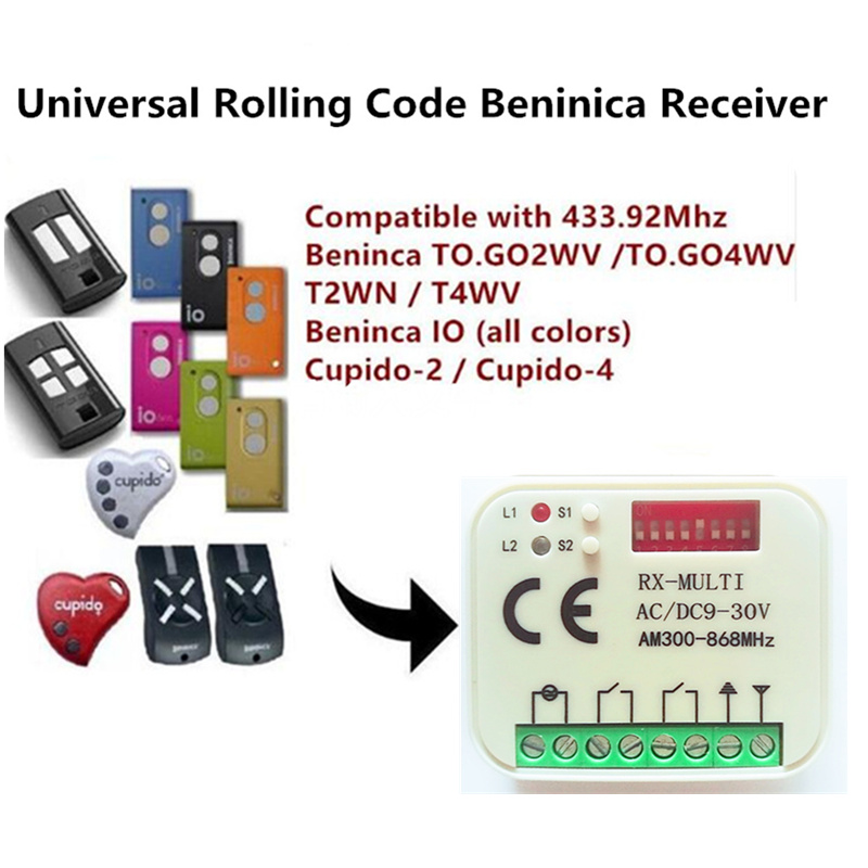 3X best price! RX MULTI 300-900MHZ Beninca TO GO 2WV 433.92MHZ Rolling code Remote control receiver swtich Free shipping