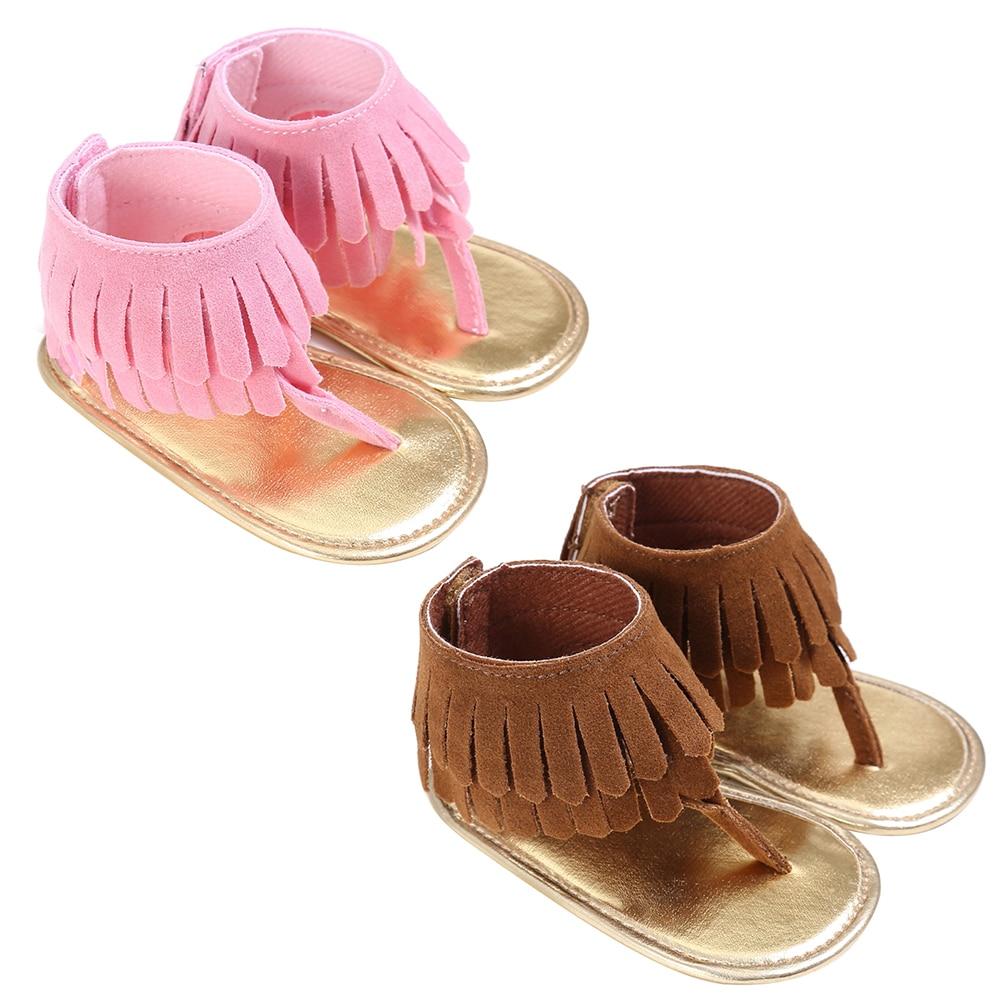 2017 Summer Newborn Baby Girl Summer Tassel Crib Shoes Girls Anti-slip Prewalker First Walkers 0-18 Months 2 Colors