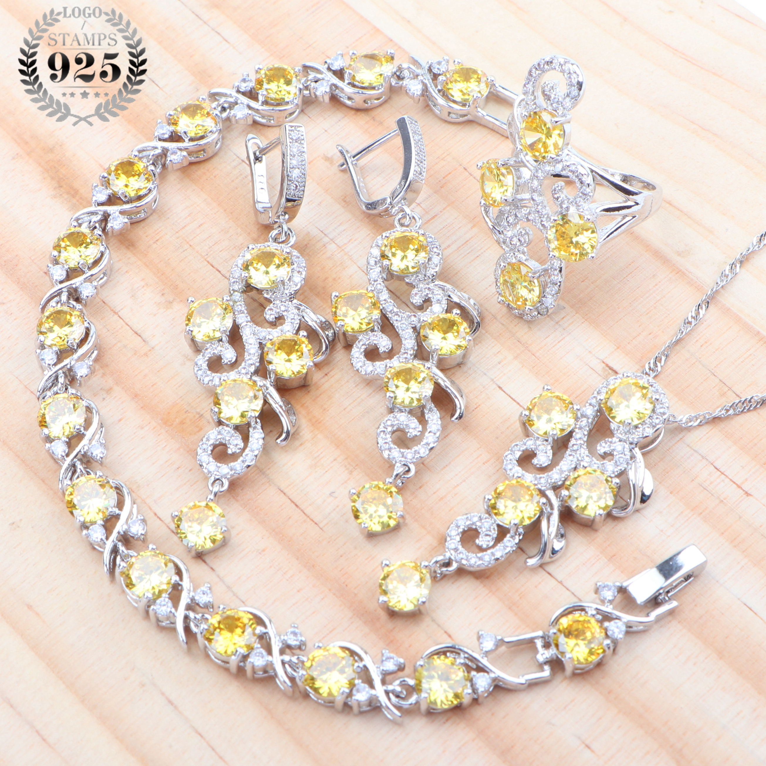 Zirconia 2019 Bridal Jewelry Sets For Women 925 Sterling Silver Wedding Jewelry Earrings Bracelets Rings Necklace Set Gift BoxBridal Jewelry Sets   -