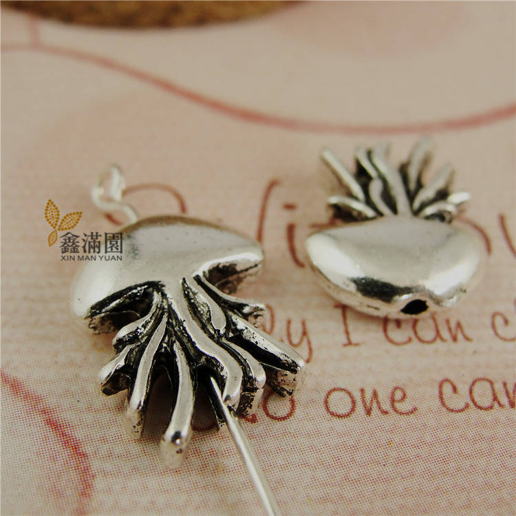 (50 pieces/lot) vinage style 11*17mm jellyfish hand stringing bead charms antique silver plated diy zakka pendant charms yw0479