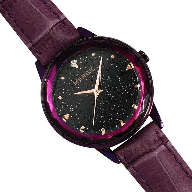 Luxury Crystal Star Sky Dial Purple Watch Women Quartz Blue Black Rose Gold Mesh Magnet Stainless Steel Waterproof Elegant 2019