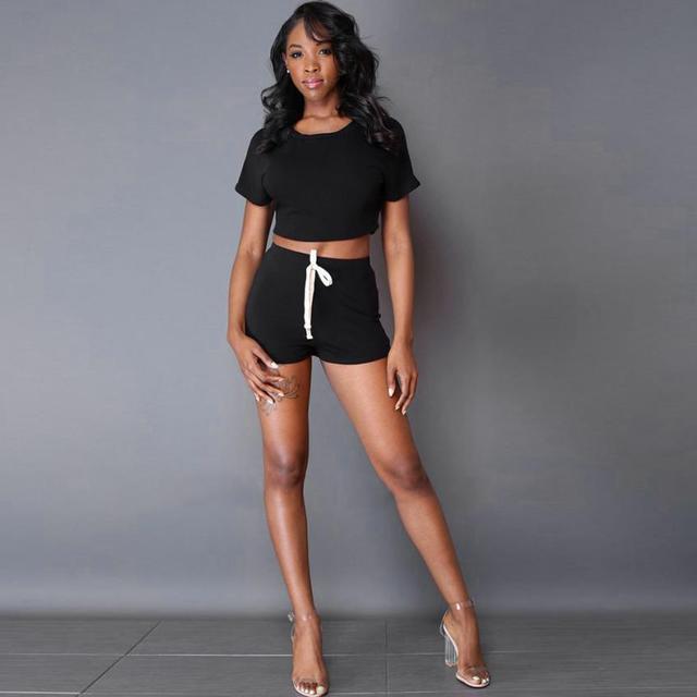 Set propia Tracksuit y 2017 mujer Top pantalones deportiva Crop ropa juvenil tienda cortos fUw6gxq