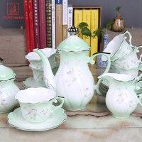 الانجليزية نمط ريفي القهوة كوب وضع هدايا الزفاف العظام الصين مجموعة الشاي وعاء القهوة الأزياء الشاي بعد الظهر السيراميك زهرة أكواب