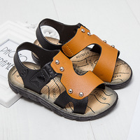 2017 Buckle Strap PU Leather Boys Sandals Mixed Color Kid Beach Sandal With Letters Insole Size 21-35