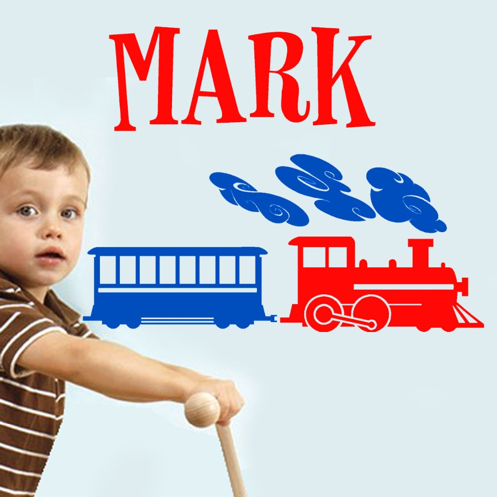 Custom Baby Name Boys Vinyl Wall Sticker Art Home Decal for kids nursery room personalized train boys Room Decoration KW-288