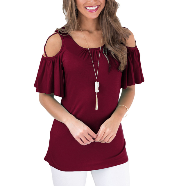 d13fd24663750 Sexy Strappy Cold Shoulder Blouses Women Fashion O-Neck Pleated Short Sleeve  Summer Tops 3XL Plus Size Ladies Basic Tee Shirts