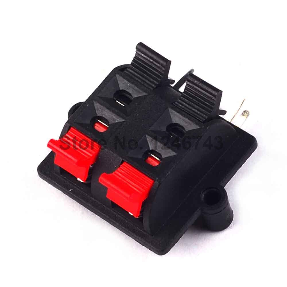 5PCS Double Row 4 Positions (side/curved foot) Connector Terminal Push in Jack Spring Load Audio Speaker Terminals imc hot 2pcs double row red black 12 pin 12 in jack speaker terminals