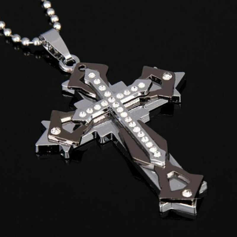 3 Colors Crystal Cross Necklace Men's Three-layer Stainless Steel Pendant Sweater Chain Jesus Rhinestone Jewelry