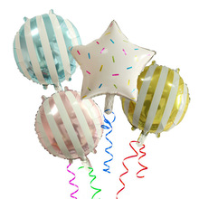 5pcs new 18 inch round dtriped candy aluminum ballon for wedding party birthday decoration childrens holiday