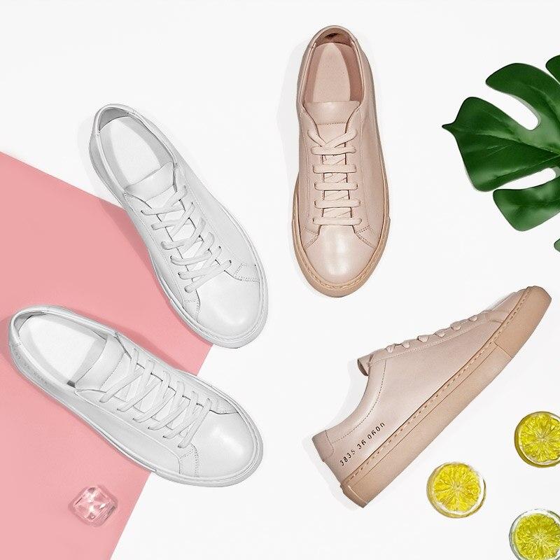 Donna-dans Sneakers Femmes En Cuir Véritable Plat Faible Talon Plate-Forme Dames à lacets Mode Respirant Chaussures Femmes 2019 Blanc Nu - 4