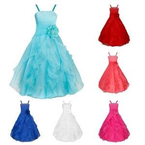Image 2 - IEFiEL ילדים בנות רקום פרח קשת צד פורמלי כדור שמלת נשף נסיכת שושבינה חתונה ילדי טוטו שמלת גודל 2 14Y