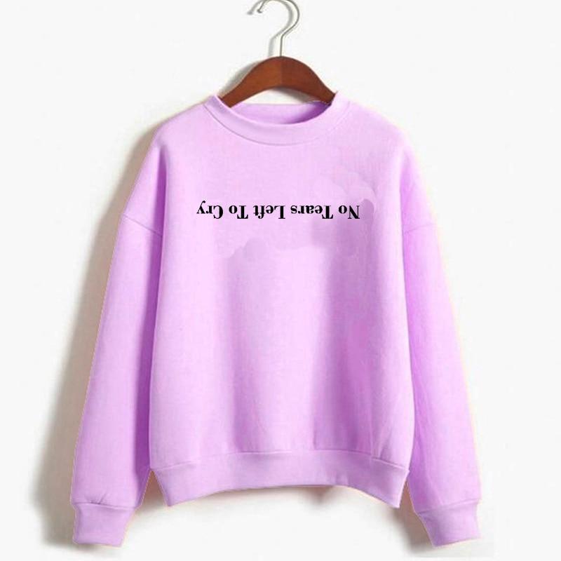 Women Print Harajuku God Is A Woman Sweatshirts Pullover Cewneck Warm Tops Ariana Grande Sweatshirt No Tears Left To Cry Hoodie