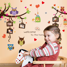 Kids room tree branch owl wall stickers removable cute photo frame nursery decals childrens bedroom cartoon wallpaper