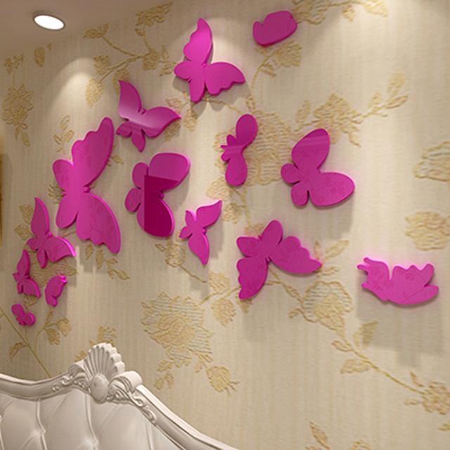 Black/ Red/ Pink Butterfly Decoration Acrylic Stickers 3D Sticker ...