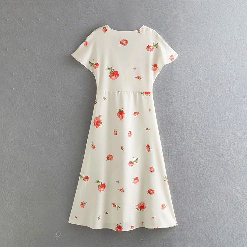 Printed Dress Women 39 s Casual Floral Short Slim Summer Deep V Neck Shirt Dress Fashion Beach Mid Calf Dresses in Dresses from Women 39 s Clothing