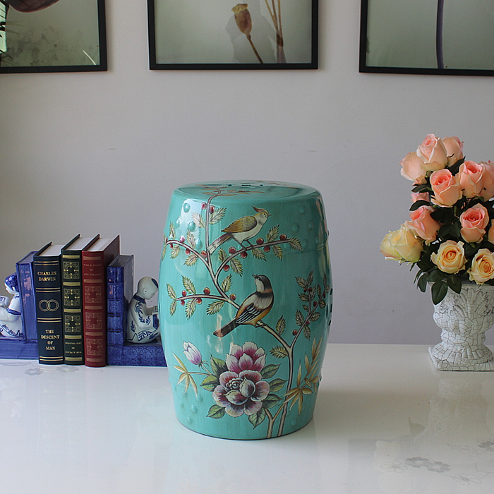 Fashion blue ceramic rustic stool decoration porcelain stool dressing stool modern home decoration floor luxury black flowers and birds indoor chinese ceramic stool home decoration porcelain garden stool handmade dressing colorful stool