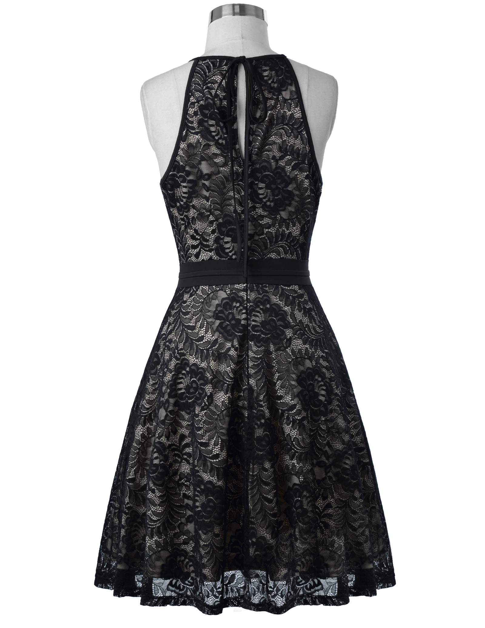 Vintage Black Lace Sleeveless Knee-Length Dress 7